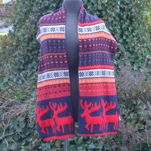 Earthbound Retro Style Reindeer Striped Scarf